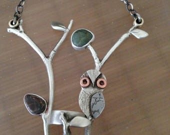 Twig Chair with Owl necklace OOAK, sterling silver, beach stones, copper, etched metal