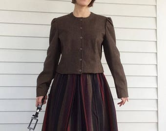 Wool Blend Jacket and Full Striped Skirt Boutique 60s 1960s Vintage S M
