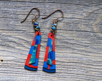 FREEDOM / Wood Earrings / Women's Jewelry / Gifts For Her / Sustainable / Earrings / Acrylic Painting / Art / Art Jewelry