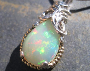 Ethiopian Welo Opal Pear Solitaire Pendant - Sterling Silver & 14kt Gold - Confetti and Pinpoint Broadflash