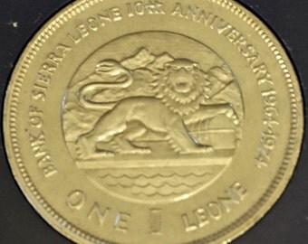 HUGE Sierra Leone Lion Coin /  Commemorative  1974