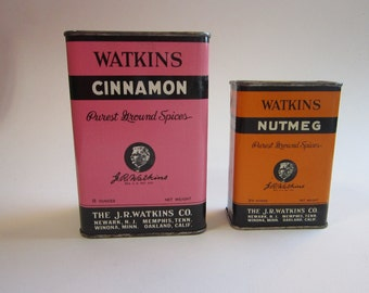 2 vintage tin - WATKINS cinnamon and nutmeg - pink and orange spice tins