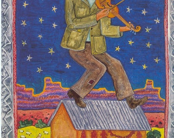 """Jewish Art Diana Bryer, """"Fiddler on the Adobe"""",Poster, 80 lb recycled paper , 18"""" x 12"""", signed by artist"""