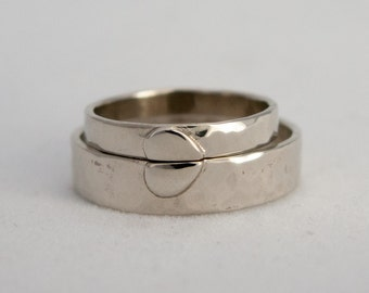 White Gold Heart Wedding Rings - One Love Rings in 3mm and 5mm Width