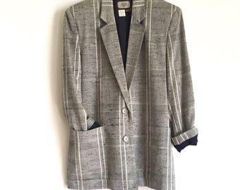 Vintage Grey, White and Black Heathered Missy Power Blazer // 1980s