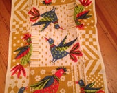 Vintage Parisian Prints Songbirds Linen Tea Hand Towel flowers Birds Floral