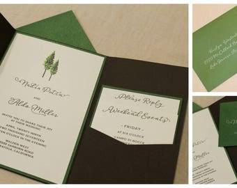 Watercolor Tree Wood Pocket Invitation