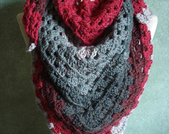 Red Velvet Granny Stitch Shawl Shoulder Wrap, Crocheted in Caron Cakes Acrylic Wool Blend