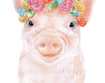 Pig Floral Watercolor Reproduction - 4 x 6 in - Giclee Fine Art Print - Watercolor Painting Print Piglet Nursery Art