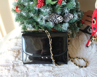 Vintage 50s Black Patent Purse COLBENTZ ORIGINAL Evening Bag Black Patent Leather w Gold Chain Strap