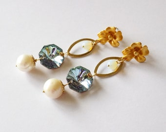 Clear blue crystal goldfill earrings with big pearls - Christmas gift idea