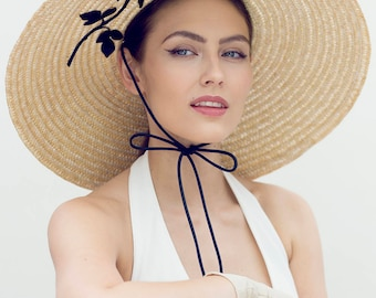 Wide Brim Summer Hat, Black Rose, Ascot Millinery, Derby Hat - Miette