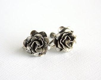 Vintage Rose Earrings Sterling Silver Vintage Screwback Earrings Cabbage Roses Rose Blossom Flower Floral Spring Summer Garden Clip-On 1940s