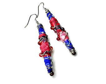 Fiber Art Jewelry, Artsy Statement Earrings, Red and Blue, Repurposed Recycled Upcycled, Tyvek Bead Earrings
