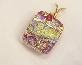 Mauve and Gold Dichroic Fused Glass Pendant with Gold Filled Wire Wrap - Cyberlily