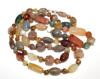 Vintage Polished Agate Stone Necklace - 39 Inches - Assorted Natural Stones (1350-3)