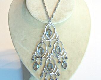 Smokey Quartz Glass Dangle Pendant Open Back Crystal Silver Tone Retro Necklace 1960's Vintage