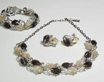 Smoke Gray Ivory Bead Vintage Necklace Bracelet Clip On Earring Set Costume Estate Jewelry
