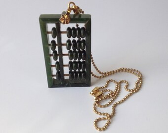 Jade Abacus Pendant Necklace – Green Jade Counting Frame - Chinese 1970s