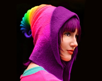 "HandiCraftKate Costume Hat. ""Rainbow"" Pixie Hood. Fantasy Hat. Cosplay Hat. LARP."