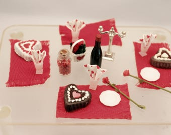 Miniature Valentine Romantic Dinner Table Setting 1:12 Scale Dollhouse Party