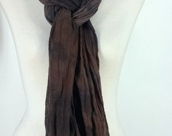 Cotton Gauze Scarf, Hand Dyed Scarf in Browns and Charcoal, Mens Extra Long Scarf, #51
