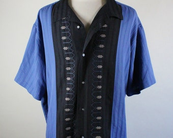 Mens Casual Dress Shirt / Two Tone Shirt / Embroidered Shirt / Blue Black Shirt / Vintage / Size 3XL / GOGOVINTAGE