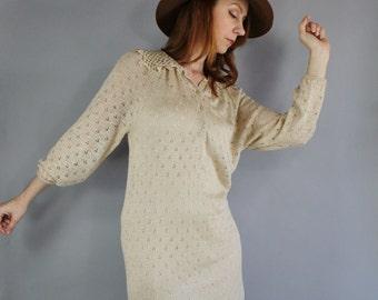 70s Women's Pointelle Earth Tone Neutral Sweater Dress, Lace, Spring, Boho, Bohemian, Long Sleeve, Hippie, Festival, Rocknroll, Size Medium