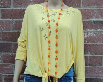 Extra Long Mid Century Glass Beaded Necklace, Flower Beads, Glass Beads, Yellow, Green, Orange, Long Necklace 53 Inches