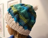 RESERVE FOR DEBRA-warm winter hat ,white turquoise and green shades ,all acrylic, bulky weight yarn ,one size fits all