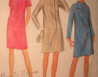 McCalls 8862 1960's Vintage Princess Seam Dress Pattern Slim 6 Panel Front Zipper Dress with Stand Up Collar-Zip Front Pattern Sz 12 Bust 32