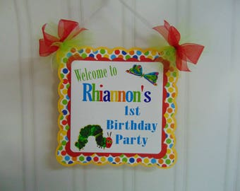 Very Hungry Caterpillar 1st birthday party decorations, welcome door banner, Eric Carle
