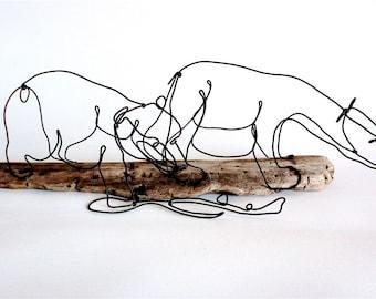 Fishing Bears Wire Sculpture, Bear Art, Minimal Sculpture, Wire Sculpture, Wire Folk Art, 499051092