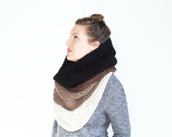 NEW! The Ombré Cowl | Cocoa | Chunky Knit Ombré Oversized Huge Textured Winter Cowl Scarf