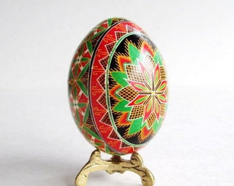 Christmas Pysanka great gift for family or someone special ornaments for Easter Tree Orthodox Easter egg season greetings gift in red green