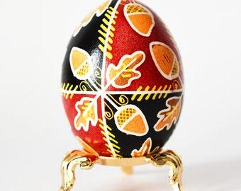 Ukrainian gift Oaks and Acorns Pysanka hand painted chicken egg ornament