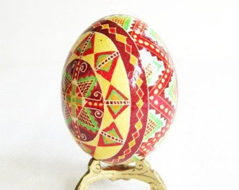Eater egg Pysanka sunshine Yellow geometric pattern pysanka unique gift idea Ukrainian Easter egg batik painted ornaments for basket