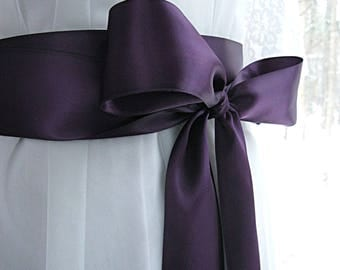 Plum purple wedding sash, bridal sash, bridesmaid sash, bridal belt, 2.25 inch satin ribbon