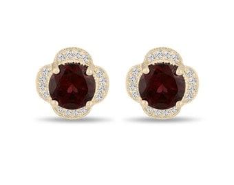 4.02 Carat Red Garnet Cluster Earrings, Diamond Flower Stud Earrings 14K Yellow Gold Halo Pave Handmade Unique