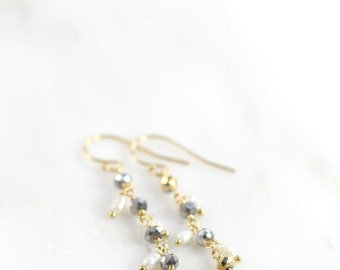 Gold Pearl and Metallic Silver Crystal Dangle Earrings, Freshwater Pearls 14k Gold Filled