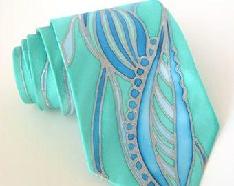 Sea Green tie , Hand Painted Silk Necktie . emerald green tie