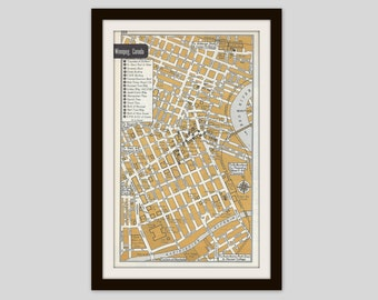 Winnipeg Canada Map, City Map, Street Map, 1950s, Bronze, Black and White, Retro Map Decor, City Street Grid, Historic Map
