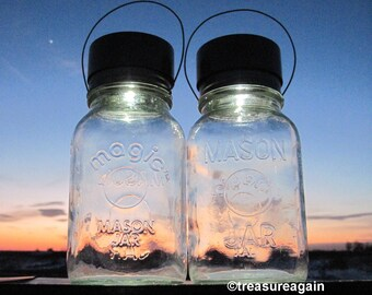 Magic Mason Jar Solar Lights, Garden Lighting, Vintage Magic Button Jar with Solar Lids, Upcycled Glass