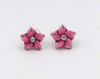 Pink Flower Earrings; Blush Plumeria; Polymer Clay Post Earrings; Floral Earrings; Floral Fashion; Style #: PIF03
