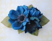 Beautiful hair clip with anemone flowers in teal blue, berries and green leaves hairflower rockabilly pin up wedding bride 50s vintage