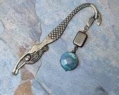 Mermaid Bookmark, Blue Bookmark, Natural Stone Bookmark, Ocean Jasper Bookmark, Brass Bookmark, Beaded Bookmark, Bookclub Gift