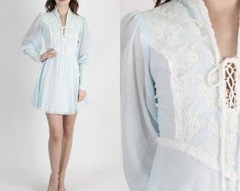 Boho Dress Lace Dress Boho Wedding Dress Pale Blue Dress 70s Dress Hippie Dress Vintage Prairie Floral Lace Corset Mini Dress