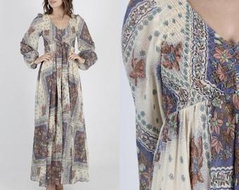 Boho Dress Boho Wedding Dress Maxi Dress Summer Dress 70s Dress Vintage Boho Hippie Dress Sheer Ivory Floral Festival Prairie Wedding Maxi S