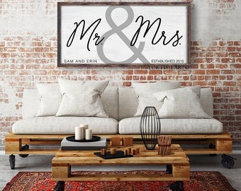CUSTOM NAME SIGN | Family Established Sign | Personalized Rustic Sign | Mr & Mrs | Rustic Home Decor | Framed Sign | Wedding Sign | His Hers