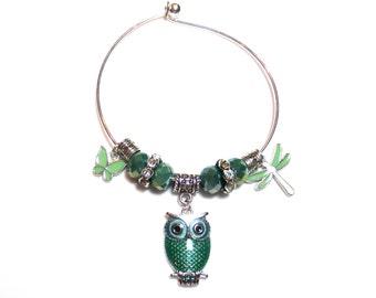 Owl Charm Bracelet, Candy Apple Green Owl, Pandora-Style Rhinestone Charms, Green Crystal Beads, Adjustable Bracelet, Butterfly Charm